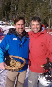 CEO Andy Wirth, handing out cookies at Alpine at opening day 2011.