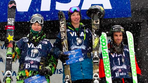 David Wise took the gold medal and clinched a spot on the Olympic team at Breckenridge today. Photo courtesy of US Freeskiing.