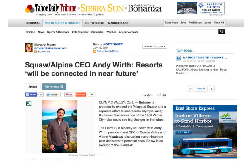 Margaret Moran interviewed Squaw Valley Ski Holdings CEO Andy Wirth in this week's Tahoe Daily Tribune.