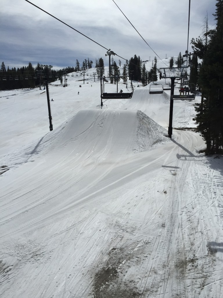 There's five of these huge jumps to store snow for later use.