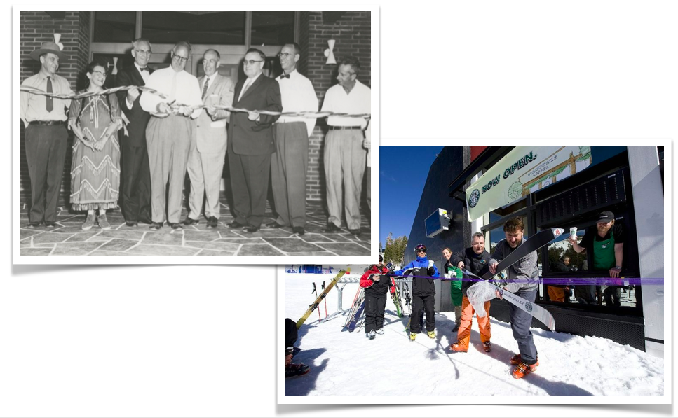 Like grandpa, like grandson? Grandpa Wirth cuts the ribbon at the Pipestone National Monument in 1958; Andy Wirth cuts the ribbon at the ski-in Starbucks at Squaw Valley more than 50 years later.