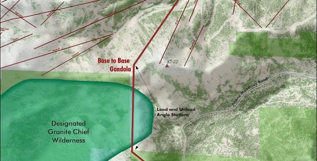 Map Proposed Gondola Through Granite Chief Wilderness