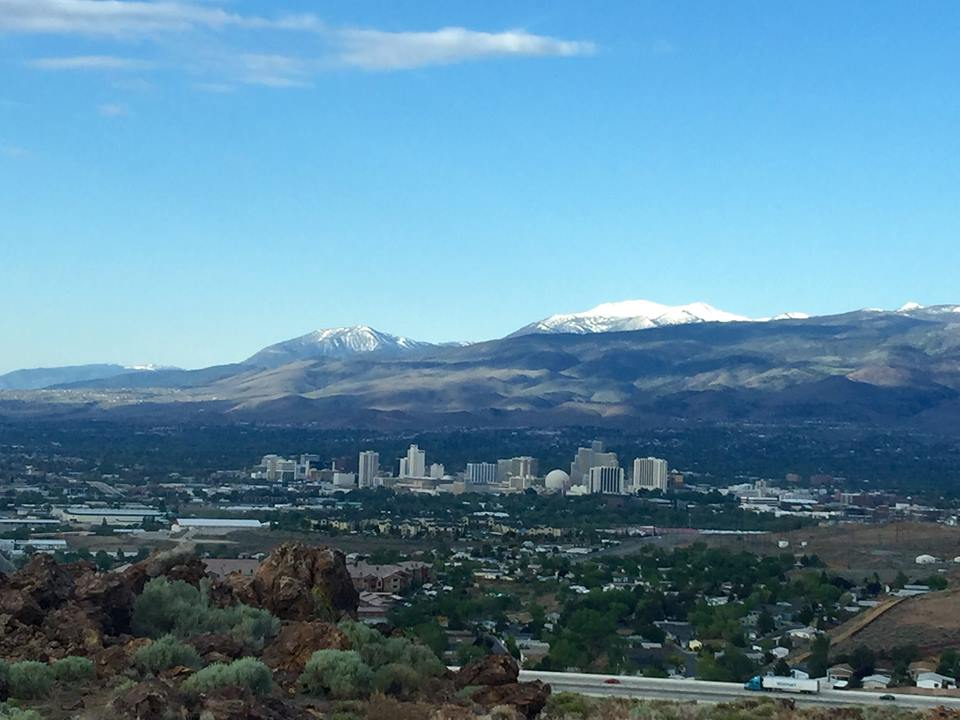 Mount Rose is looking more white on May 24 than it has looked all winter. Photo via Reno NOAA office