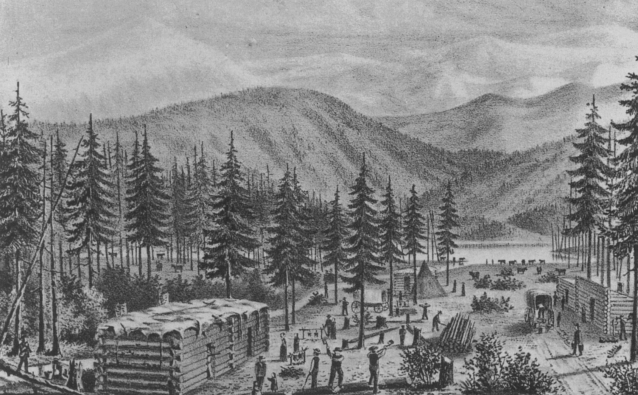 """An artists rendering of the Donner Party camp at  """"Truckee Lake"""", now known as Donner Lake."""