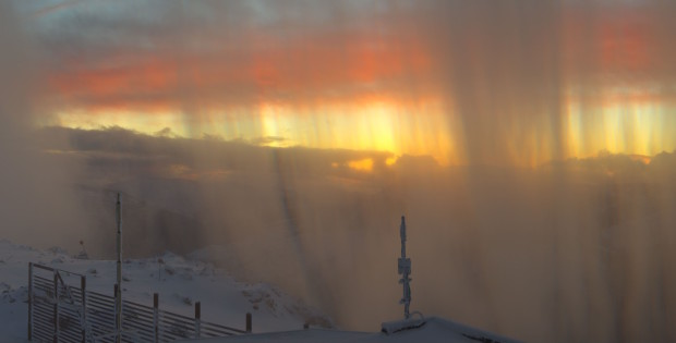 The storm tapers off at sunset yesterday. Photo via SkiAlpine.com