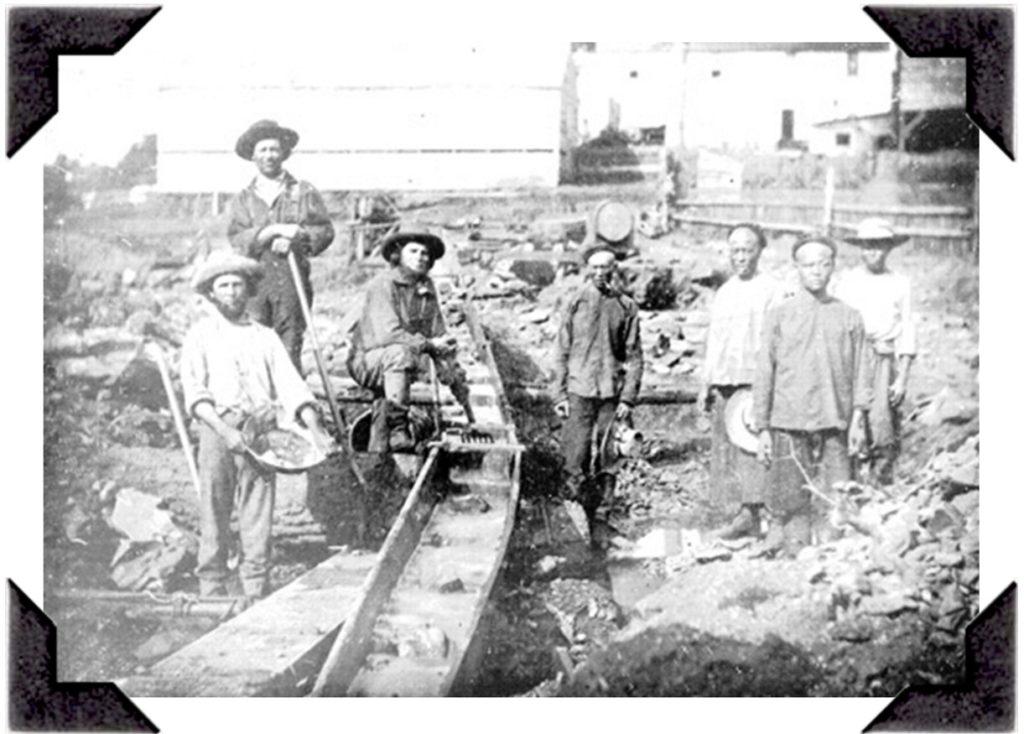 Early gold seekers in Auburn Ravine in the 1850's.